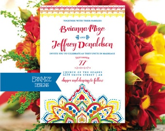 Mexican themed Wedding Invitation, Bright Wedding Invitation, Red, Orange, Royal Blue, Yellow