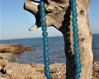 50 Strung Turquoise Blue African Recycled Glass Beads from Ghana
