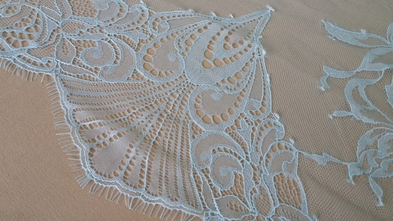 New soft blue mesh embroidered wedding/show/evening dress lace fabric