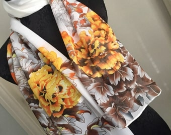 Scarf shawl wrap sarong cover up Fichu with flowers white yellow brown multi wedding birthday anniversary party holiday gift