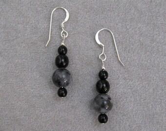 Larkivite & Black Glass Earrings - n0858e01