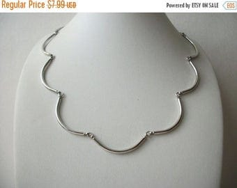 ON SALE Vintage SARAH Cov Signed Thin Silver Tone Metal Necklace 32517