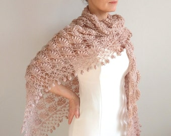 Crochet shawl, champagne shawl, bridal wrap, lace shawl, wedding shawl, bridal cover up, winter wedding, gift for her, fast shipping