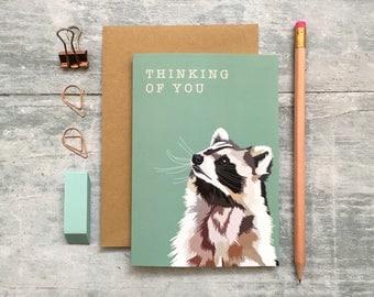 Raccoon Thinking of You Card - Raccoon Card - Thinking of You Card - Animal Card - Woodland Animal - Get Well Soon Card - Sympathy Card