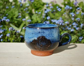 Blue Lotus Flower Handmade Terracotta Mug - Coffee Mug - Yoga Mug - Pottery Mug - Ceramics - Unique Mug - Lotus Mug