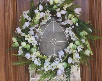 Spring wreath for front Door, double door spring summer wreath, summer front door wreath, spring front door decor, summer front door decor