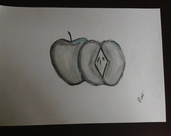 Charcoal SoftPastel Graphite Apple Fruit  Sketch Drawing A4