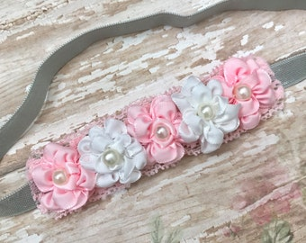 Pink Grey white  baby Headband-Pink white Baby Headband-light pink and grey headband-Grey pink white baby Headband-Pink and grey headband