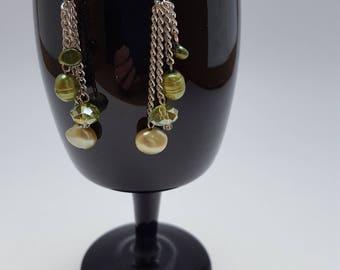 13025E Fresh Water Pearl and Crystal Earrings