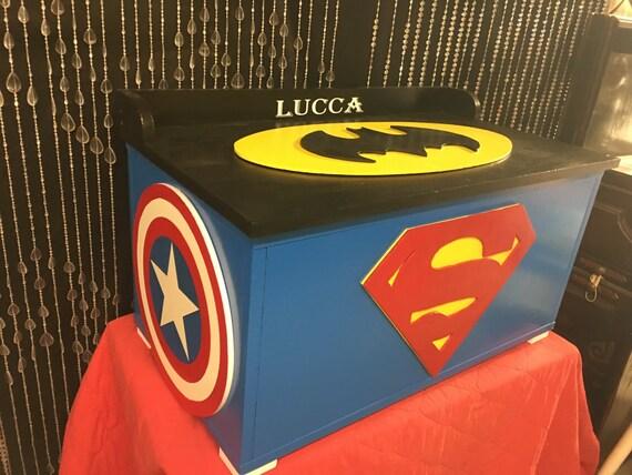 ... dc - avengers - batman decor - childrens toy box - kids furniture