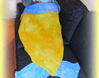 mermaid tail blanket kids ombre yellow and blue