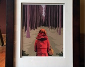 Little Red Riding Hood Illustration Art Print, 8x10 print