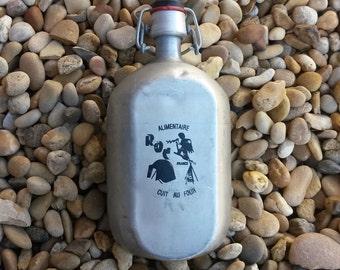 Flask, Water Flask, Vintage Water Flask, French, Roc Flask, Aluminium Kitchen Decor, Swing Top Bottle