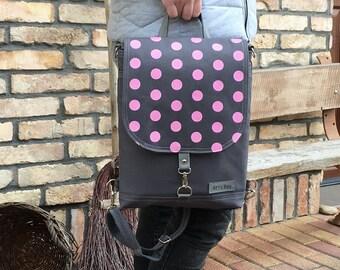 Mini Canvas Backpack, Pink polka dots messenger bag, crossbody bag, birthday gift for women, hipster functional backpack, birthday gift