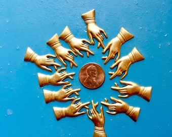 "Raw Brass Victorian Hand 12 pcs Lady's Gloved Hand Great Vintagey Detail 1-1/8"" x .5"" Techno Romantic"