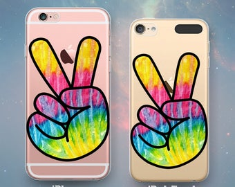 Clear Rubber Case for iPhone 7 7 Plus iPhone 6s 6 Plus iPhone SE iPhone 5s 5 5c iPod Touch 6th 5th Gen Fun Tie Dye Peace Sign Fingers Symbol