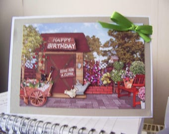 Handmade gardening greetings card