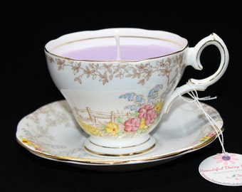 Vintage teacup candle - beautiful Bell teacup with the 'Memories' pattern and filled with soy wax.