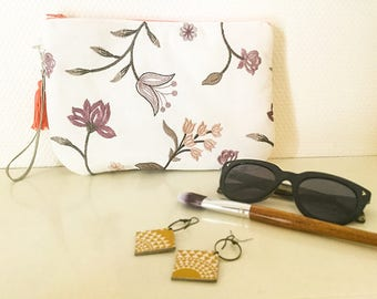 Soft and elegant embroidered pouch