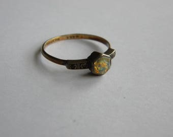 Vintage Art Deco 9ct Gold silver ring foil glass ~ old ~ delicate ~  inA2551