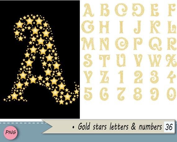 Gold Stars Alphabet Clip Art Digital Art Typography Art