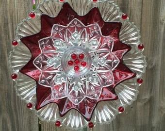 "Christmas Plate Flower, Garden Decor ""Poinsettia"""