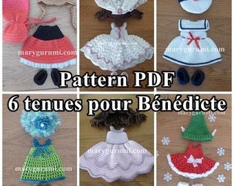Crochet Pattern, pattern, tutorial, Amigurumu, doll, 6 outfits for dolls Bénédicte (7 Pack)