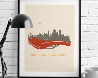 San Francisco - Bicycling Gift Ideas – San Francisco Poster - Poster - Wall Art - Home Décor – Bicycle Print Décor – California Wall Art