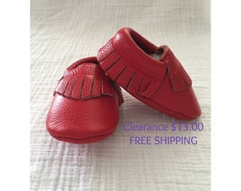 Red Leather Moccasins