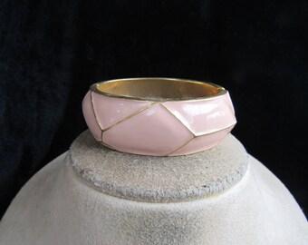 Vintage Chunky Hinged Pink Enameled Bangle Bracelet