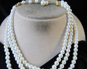 Vintage Triple Stranded White Faux Pearl Necklace