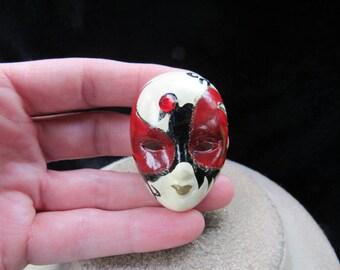 Vintage Ceramic Rhinestone Hand Painted Mask/Face Pin