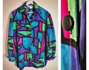 80s Caren Components colorful geometric patterned button-down blouse