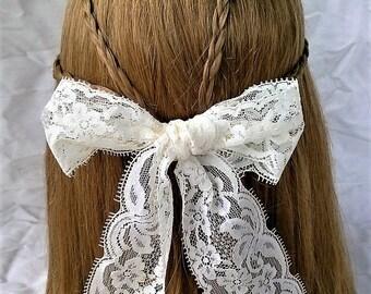 Simple White Lace Bow Lolita Hair Barrette