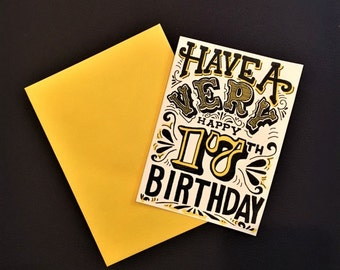 yellow black and white hand lettered customized birthday year card