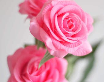 1 Stems Real Touch Rose Pink Rose Artificial Single Spray Silk Rose