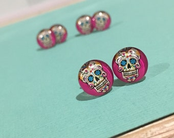 Sugar Skull Glass Dome Earrings - Skull Earrings - Rockabilly Earrings - Mexican Skull Earrings
