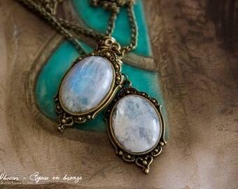 Leda Moonstone - pattern Art pendant