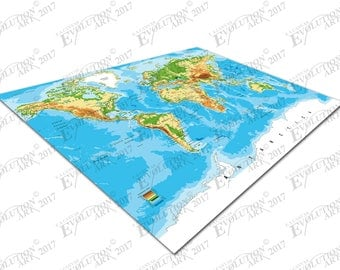 Print on Canvas detailed World map cities countries Vector X1607
