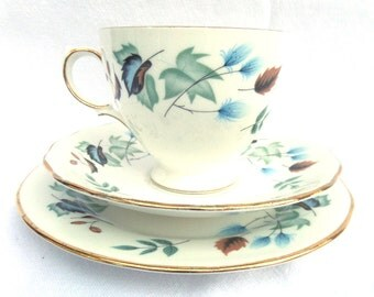 Colclough Blue Linden Tea Trio, Bone China Tea Cup, Saucer and Plate, Immaculate Condition, Vintage 1960's English China