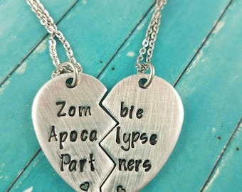 Zombie Apocalypse Partners Necklace Set, Best friend gift, Couple's gift, Zombie Gift