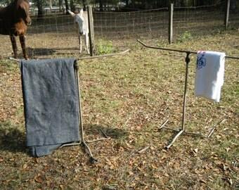 Pair Of Sprinklers Vintage Shabby Chic Cottage Quilt Blanket Towel Stands Holder