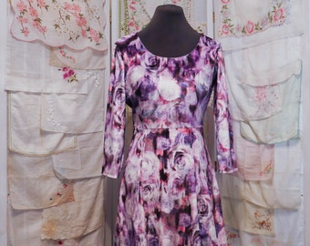Long Sleeve Velvet Dress with Lavender Roses – So Kawaii ! Ganguro J-Fashion