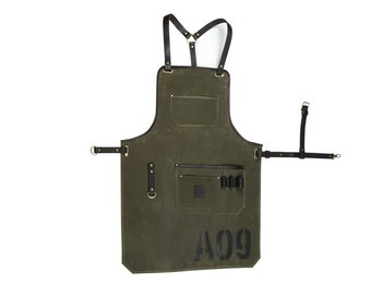 SALE 10%! Olive waxed canvas and leather apron / Work apron / Mens apron / Craftsman's apron / Barber's apron / Mens gift / Grill apron