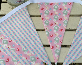 Bird bunting, bird gifts, bird house bunting, birdhouse bunting, pink bird bunting, fabric bunting, cotton bunting, bunting, UK Sellers only