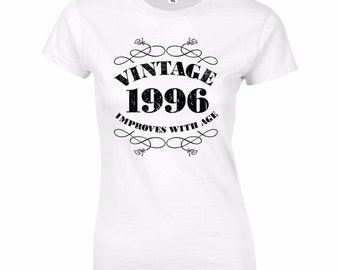 Women's 21st Birthday T Shirt Funny Vintage 1996 21st Birthday Gifts *GIFT BOXED free of charge!*