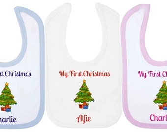 Personalised My First Christmas  Baby Bib With Christmas Tree. Available in WHITE, PINK or BLUE