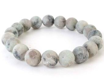 Natural Stone Stretch Bracelet in Light Gray