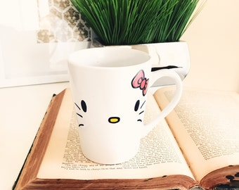 Hello Kitty Mug | Hand Painted Mug | Gift for Friend | Children's Gifts | Cartoon Character Gift | Coffee Mug | Ceramic Mug | White Mug