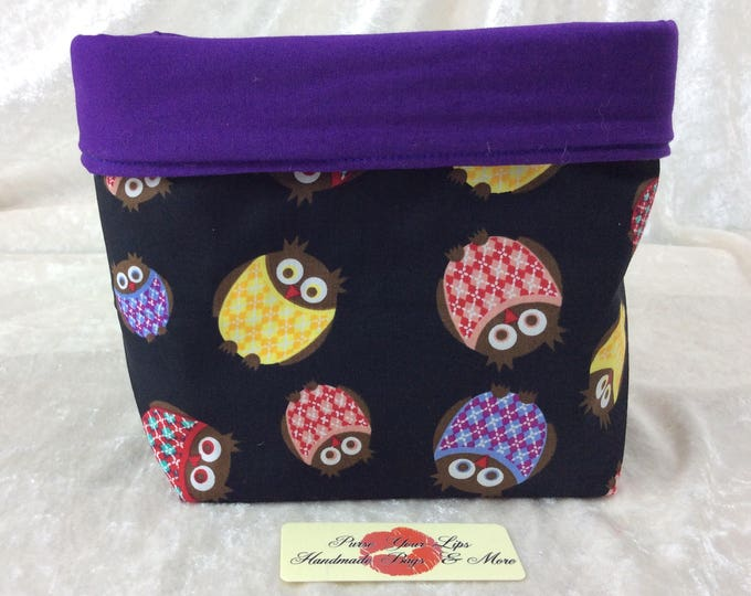 Owls Fabric basket tall  reversible organiser bin storage. Handmade in England